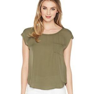 Joie Gina top silk scoop neck pocket blouse